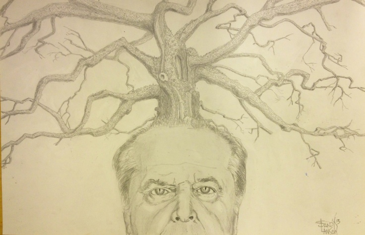 """""""Gnarly Jack"""" A portrait of Jack Nicholson and an equally famous oak tree by Sandy Lawson (c) 2013. graphite drawing. 12 x 18."""