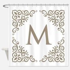 Monogram Vintage Look Shower Curtain for