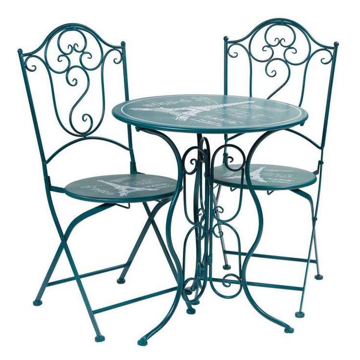 Conjunto terraza de forja verde azulado o azul verdoso en La Josa Shop https://www.lajosashop.com/es/productos/detalles/conjunto-bistro-y-2-sillas-azul/1345/4