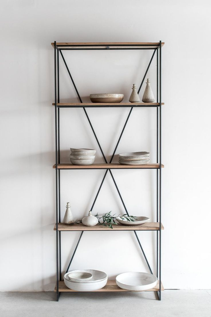 Process: This Bookcase is Custom Made in Los Angeles. Industrial steel frame is welded and salvaged wood boards are cut to size. Finish: Hand brushed raw wood with symmetrically oxidized finishing.
