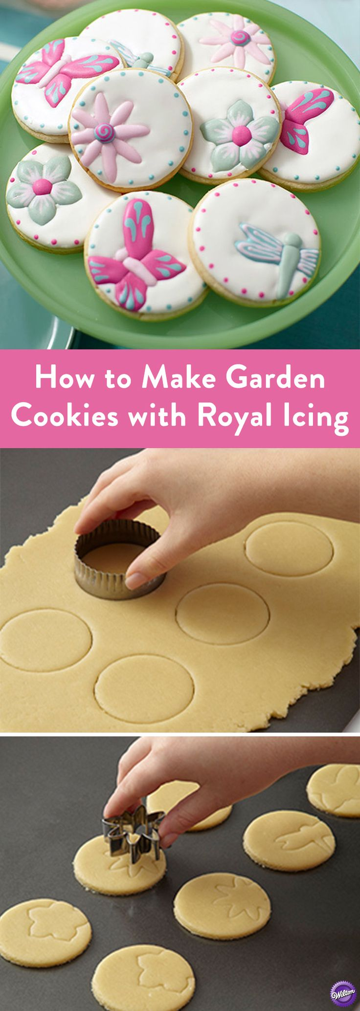 How to Make Garden Cookies with Royal Icing - Using shaped cookie cutters to imprint traceable patterns on sugar cookies? Genius! Use these spring cookie cutter shapes to stamp flower and butterfly prints into dough. Bake and get ready to decorate. Trace the butterfly or flower shape using royal icing and a piping bag to create detailed decorations.
