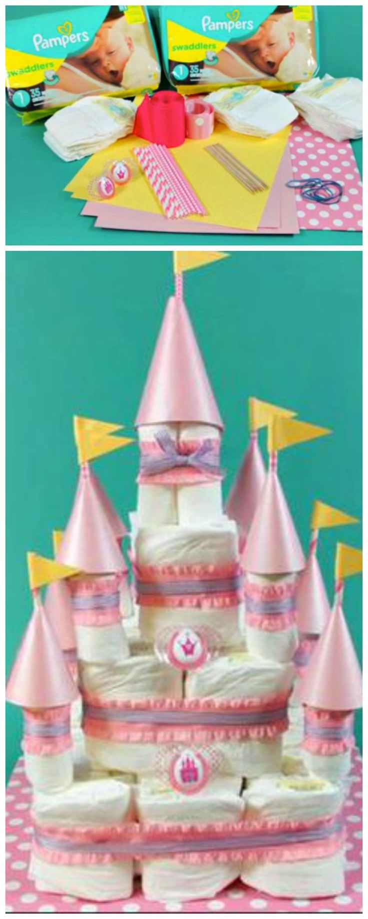 How to make a paper castle decoration - Learn How To Create This Fun Diy Princess Diaper Cake Castle With An Easy Step By Step Video This Would Make A Wonderful Baby Shower Gift Decoration