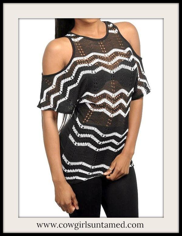 0dd3fe3e6f4c2e Black   White Chevron Stripe Cut Out Shoulder Short Sleeve Knit Western Top   top  crochet  chevron  stripes  sale  clearance  wholesale  womens   clothing ...