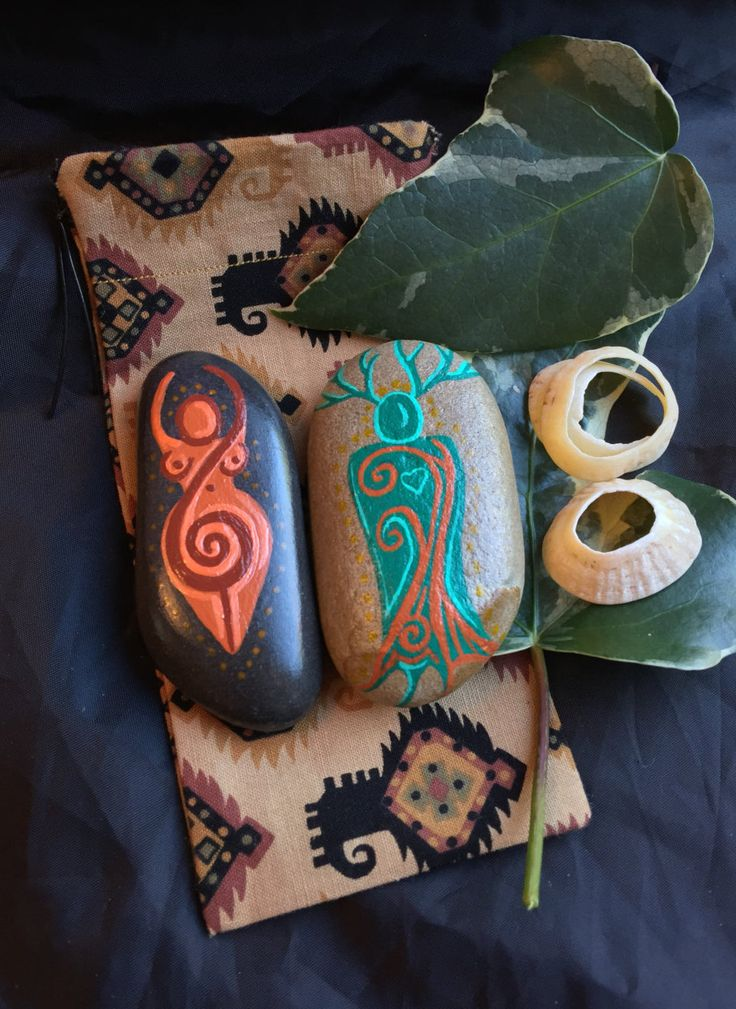 Spiral GOD & GODDESS Altar Stones with Pouch ~ CHARM Amulets. Witch Wicca Painted Palm Stones by wildseawitch on Etsy