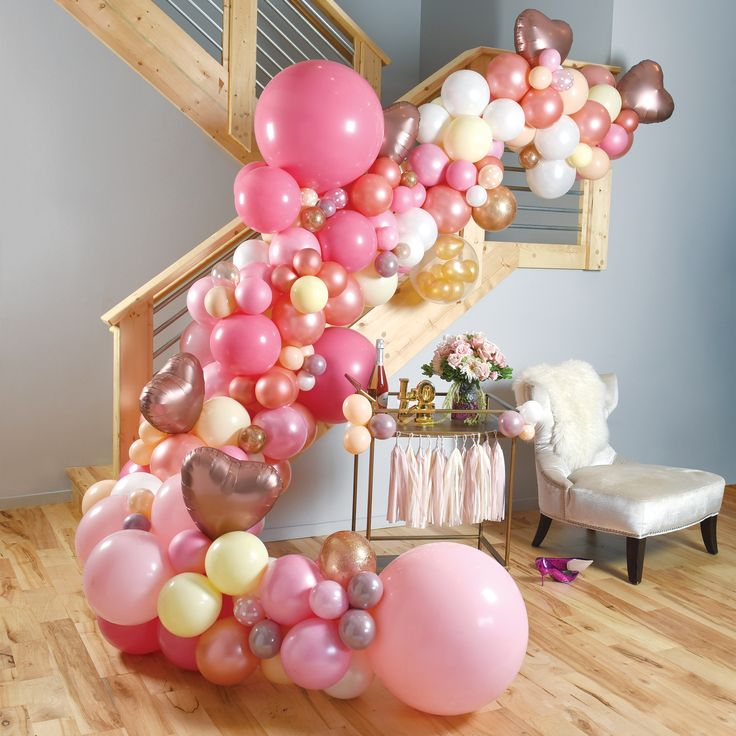 The perfect decor for a Galentine's Day or Bridal Shower! #balloons #balloon #galentinesday #valentine #valentinesday #engagement #bridalshower #bride #wedding #organicballoonarch #balloongarland #rosegold #pink #blush