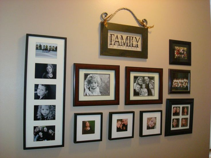 family photo arrangements on wall | One example of how to group some framed  photos.