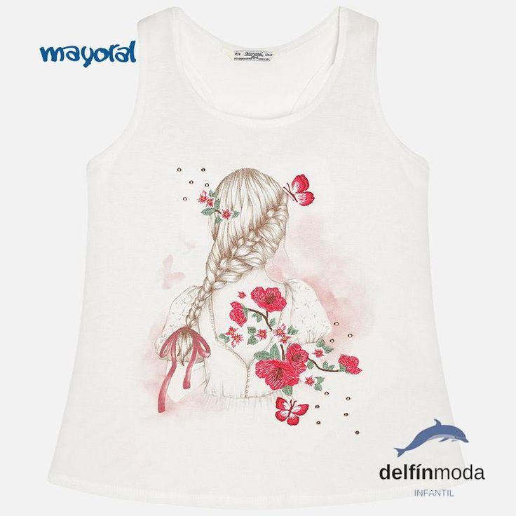Camiseta niña juvenil MAYORAL tirantes print abertura espalda