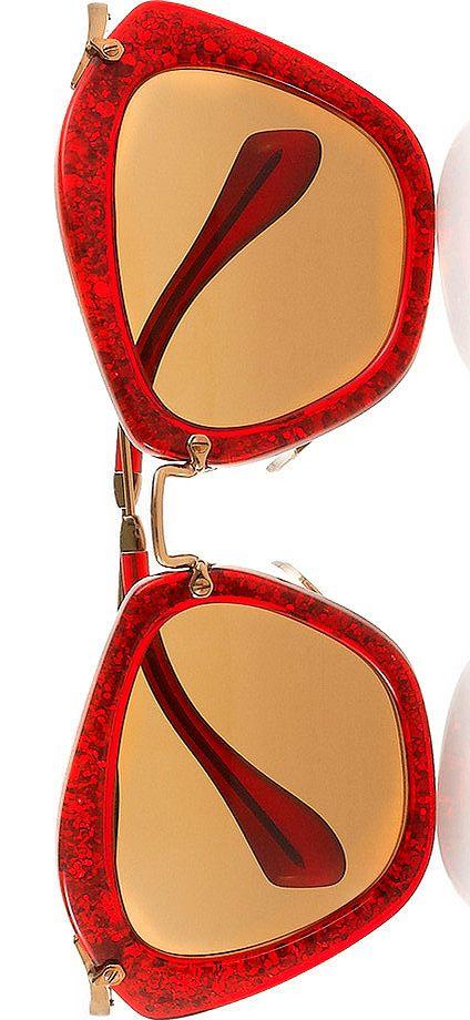 Miu Miu Cat eye glittered acetate and metal sunglasses