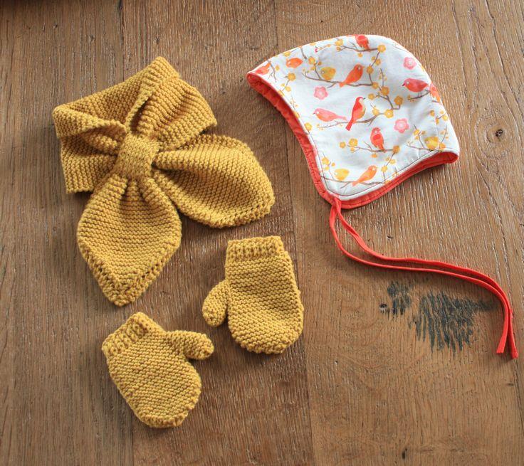 spicalili écharpe + moufles moutardes - TUTO