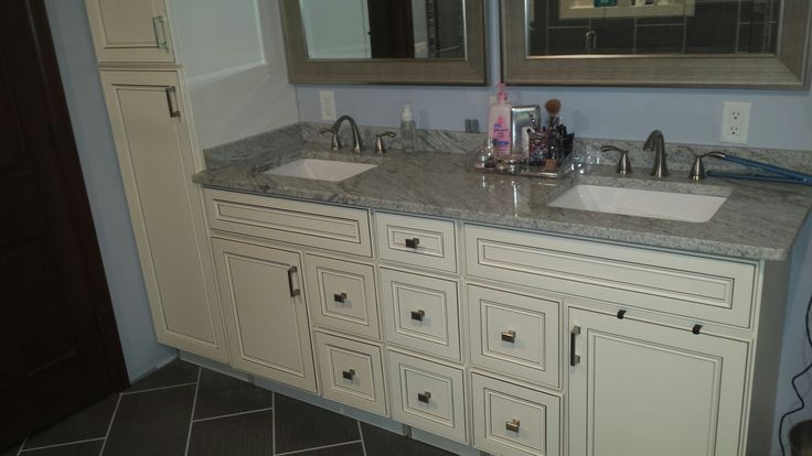 York antique white bathroom vanity remodel by lily ann for Bathroom cabinets york