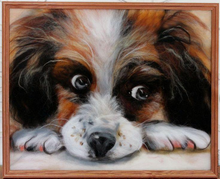 """Купить Картина """"Щенок"""" - картина, шерстяная акварель, шерсть для валяния, собака, домашнее животное"""
