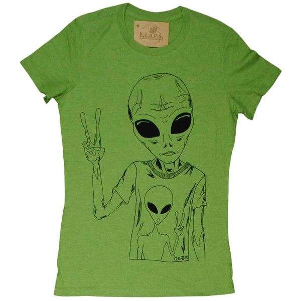 Alien Tee Shirts for Women Alien Tshirt Green Tee Sci Fi Tshirt Space... (£17) ❤ liked on Polyvore featuring tops, t-shirts, grey, women's clothing, grey t shirt, graphic print t shirts, crew neck t shirt, graphic t shirts and fitted graphic tees