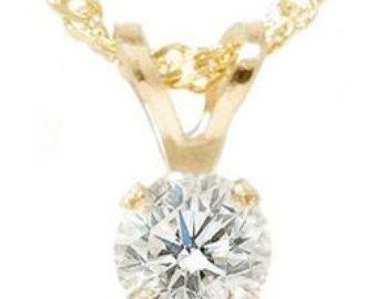 Solitario diamante colgante 14K oro blanco 1 / 4CT por Pompeii3