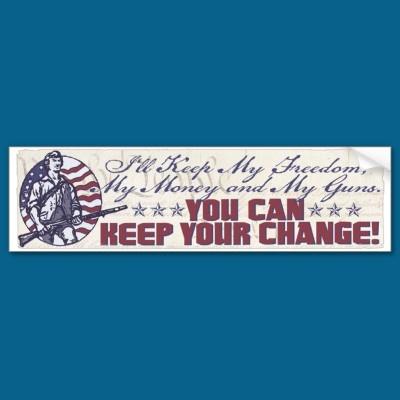 My freedom my money and my guns gear bumper sticker