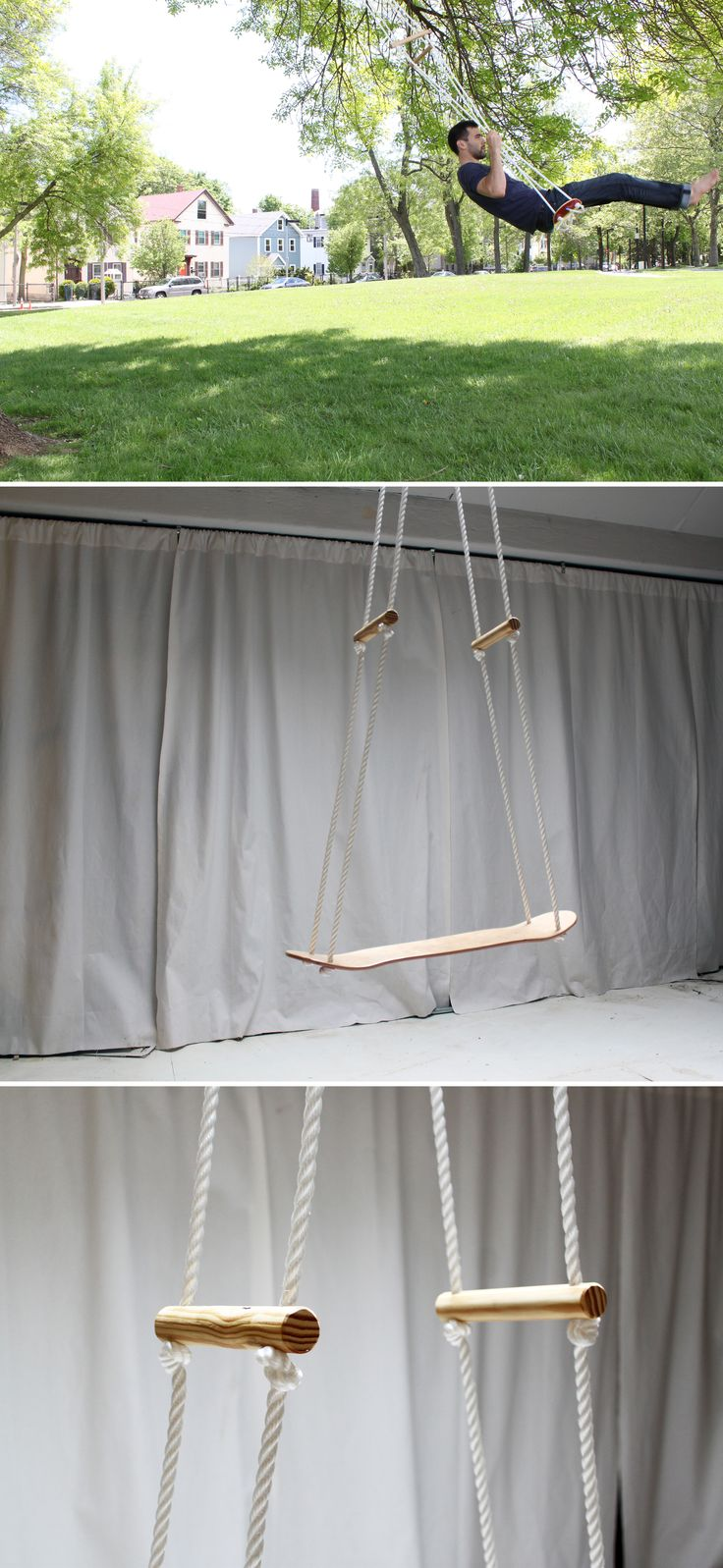 Use a skateboard to make a comfortable swing for your backyard. Check out the website for instructions: http://www.homemade-modern.com/ep35-the-skate-swing/