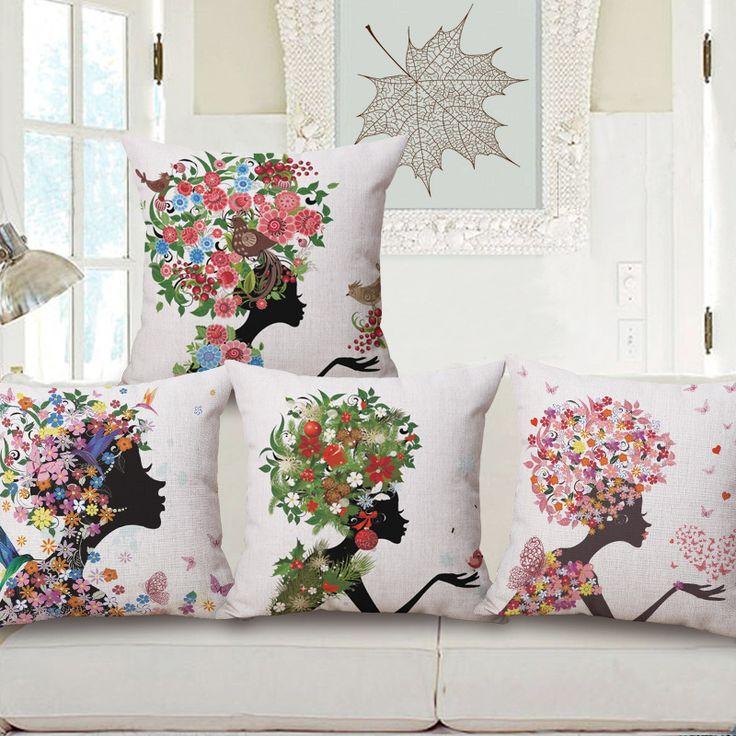 """18 """" criativa dos desenhos animados beleza algodão linho capa de almofada Ikea sofá decorativa Throw Pillow início Car cadeira fronha almofadas alishoppbrasil"""