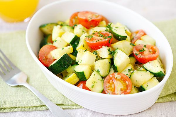 Garlic Herb Sauteed Zucchini and Squash - made it with regular tomatoes and just zucchini! Very good!