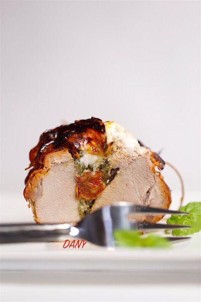 Filet mignon farci aux épinards, chèvre et tomates confites