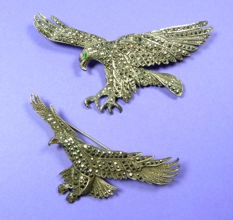 Two marcasite bird brooches - photographed by Gillian Horsup. www.gillianhorsup.com   #marcasiteBrooch