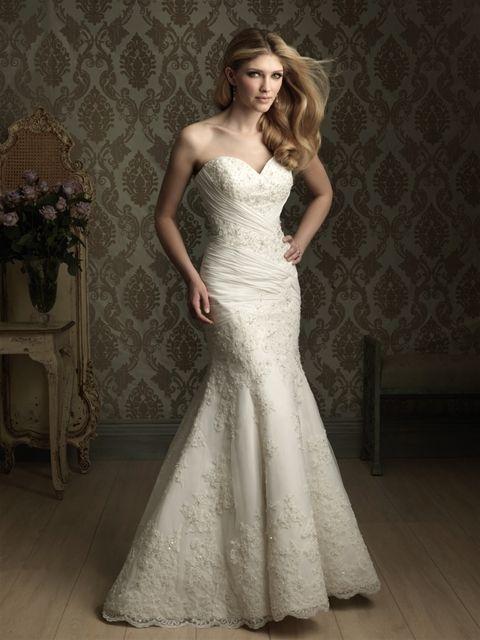Allure Bridals: Style: 8867  A great fit and flare gown with rich embellishment. The strapless, sweetheart neckline is adorned with beaded lace. Chiffon ruches beautifully along with beaded lace throughout the entire gown.