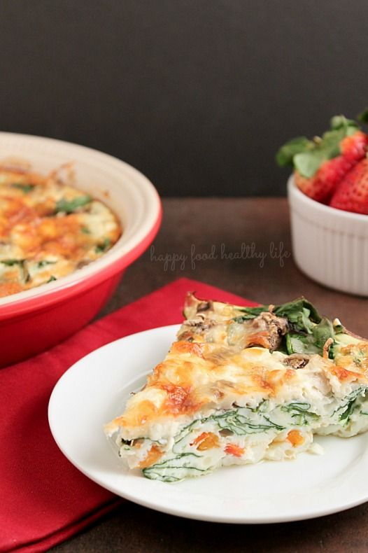 Crustless Egg-White Quiche. A satisfying breakfast, brunch, or even dinner. Super Healthy. Super Yummy! You won't even miss the yolk or the ...