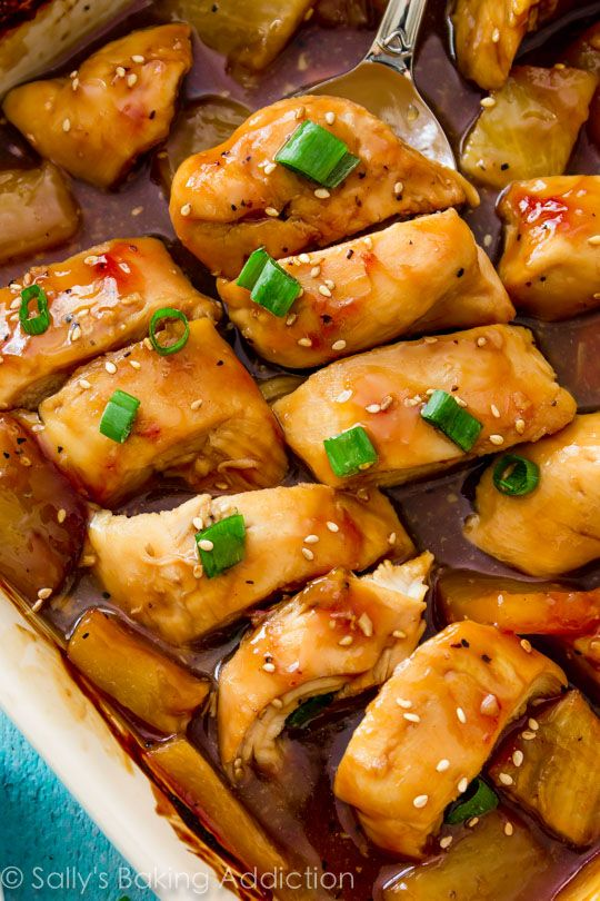 Easy Healthy Dinner: Baked Pineapple Teriyaki Chicken. - Sallys Baking Addiction