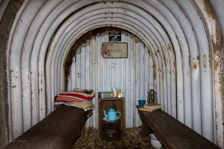 Inside an Anderson Shelter at the Old Forge War Time House Sittingbourne Kent