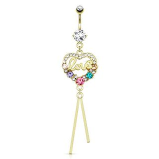 Gold Plated Romantic LOVE Heart Belly Ring  - Multi Coloured Lovers Body Jewellery. Find it at www.tummytoys.com.au