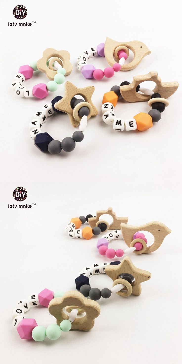 4pcs Letter beads Silicone Pacifier Clip Silicone Teether Clip baby pacifer Clip Baby Toys chew toys baby toys baby Rattle