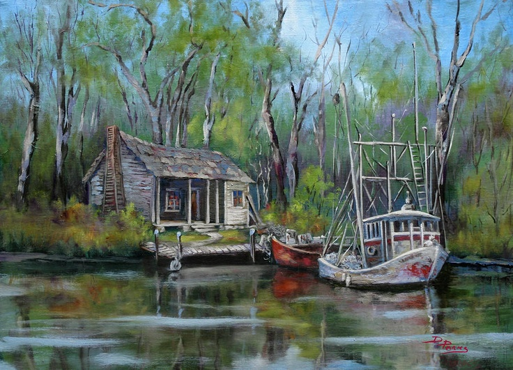 Louisiana Shrimp Boats | Bayou Shrimper Painting by Dianne Parks - Bayou Shrimper Fine Art ...