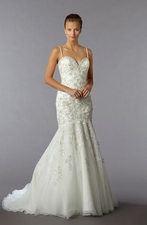 Sweetheart Mermaid Wedding Dress  with Dropped Waist in Beaded Embroidery. Bridal Gown Style Number:32962656