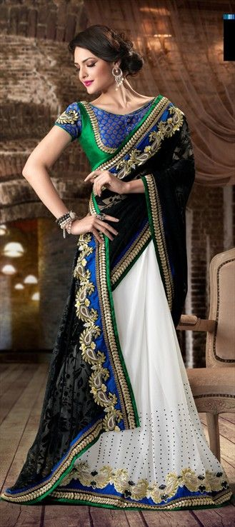 100206: Black and Grey, White and Off White color family Saree with matching unstitched blouse.