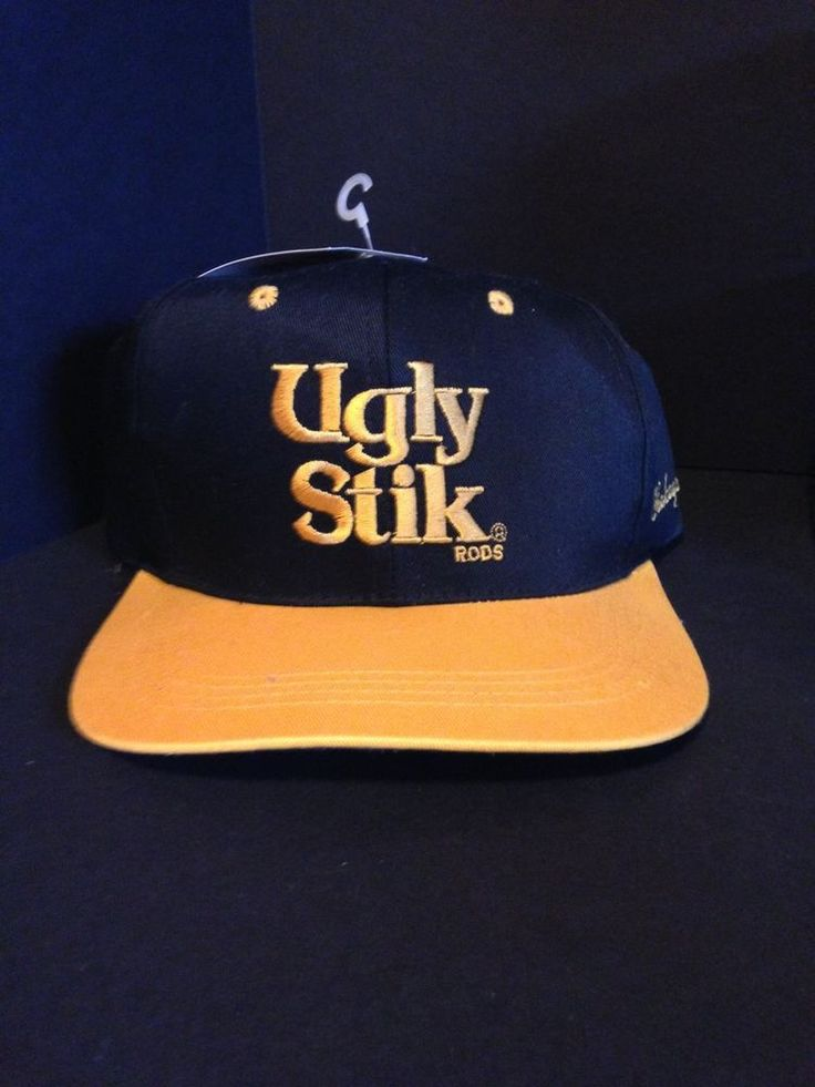 Ugly stik shakespeare hat cap black yellow adult fishing for Fitted fishing hats