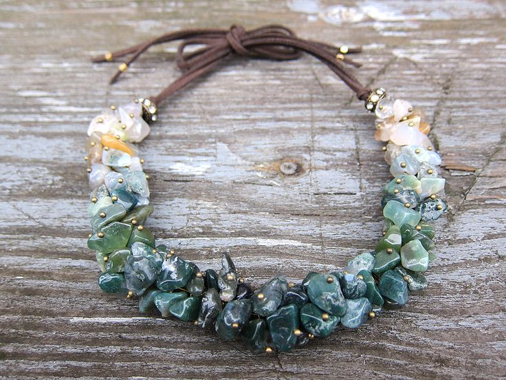 Green Jasper necklace Gemstone necklace Gemstone choker necklaces Boho bohemian necklace Virgo birthstone Healing jewellery Bib necklace by JaneRJewelry on Etsy