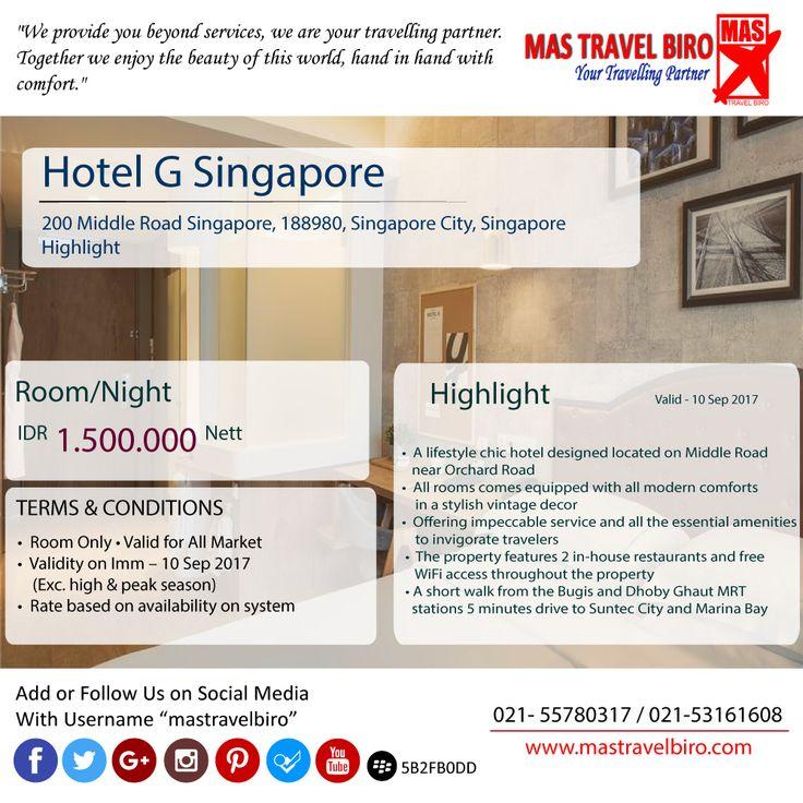 "Bermalam Di ""Hotel G Singapore"" hanya Rp 1.500.000. Kuy Booking 😇 #Mastravel #Seninceria #Promohotel #Ticket"