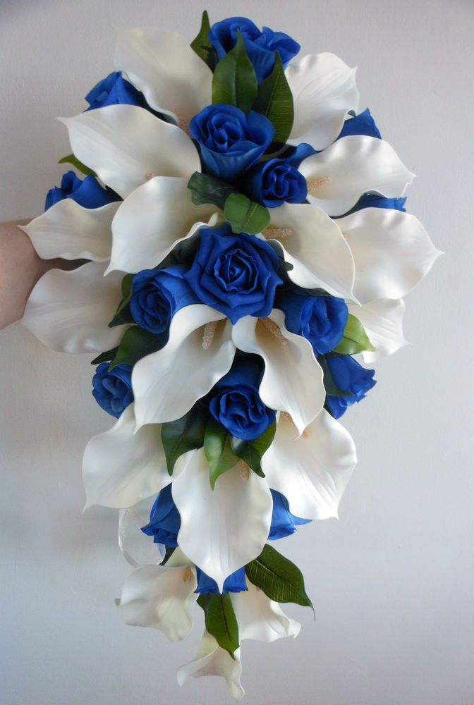 Wedding Bouquet - Ivory Latex Foam Calla Lily & Royal Blue Roses Teardrop