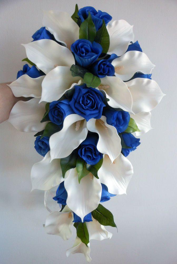Wedding Bouquet - Ivory Latex Foam Calla Lily  Royal Blue Roses Teardrop