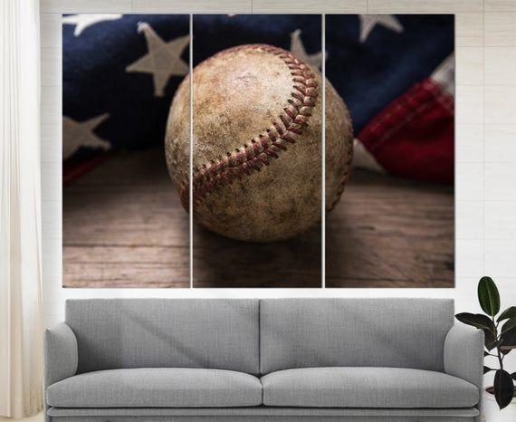 Vintage Baseball Canvas Print Baseball Wall Art Baseball Etsy Baseball Wall Art Baseball Wall Sports Bar Decor