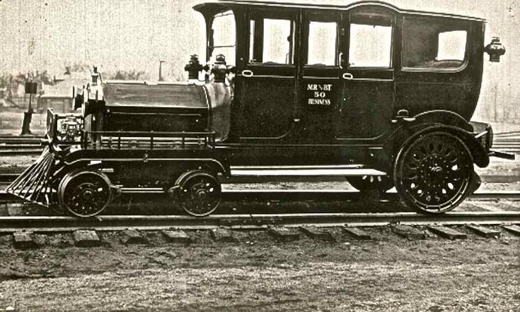 An early to mid teens Pierce-Arrow limousine which has been converted into an incred-ibly deluxe train car. This six-wheeled luxury convenance was owned by the Mississippi River and Bonne Terre Railway.