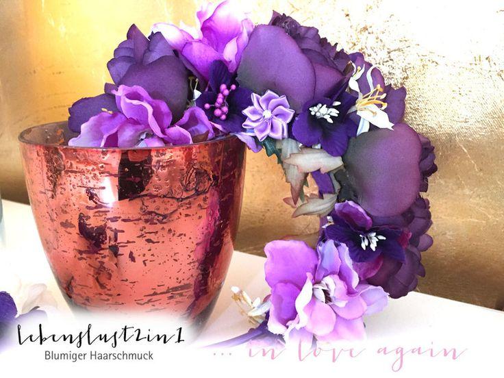 Opulente Blumenkrone **LUNA** in love again von Lebenslust2in1 auf DaWanda.com