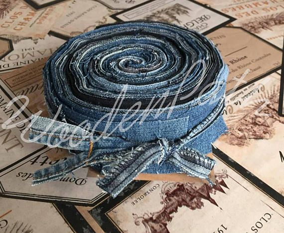 2 Denim Jeans Jelly Roll Straps Patches Scraps for