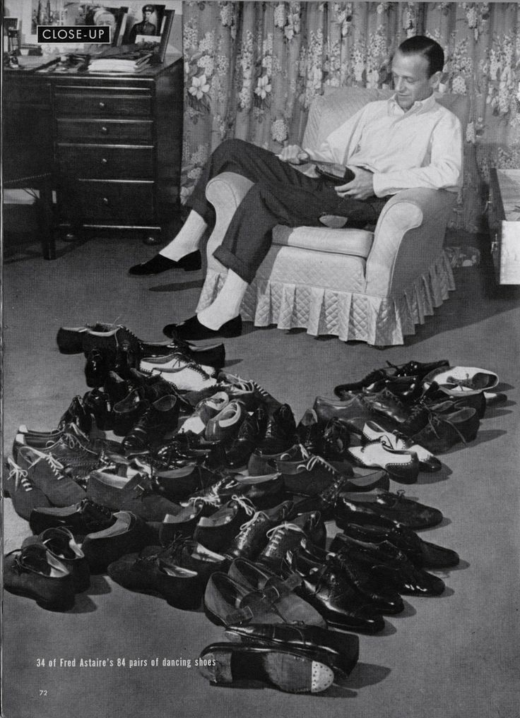 Fred Astaire with 34 of his 84 pairs of dance shoes. Photography by Bob Landry for LIFE Magazine, August 25th, 1941