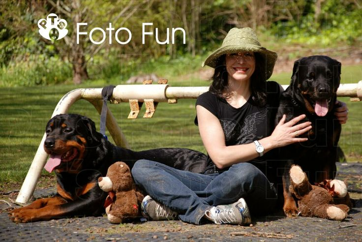 Woman with her rottweiler dogs