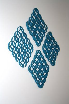 Toilet paper roll wall art! I've made one of the little circles in this and used it as a Christmas tree ornament ;)