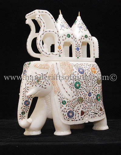 Handicrafts: Marble elephant inlaid with gemstones
