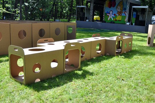 Here's a fun idea for reusing cardboard boxes!  Create a cardboard playground!