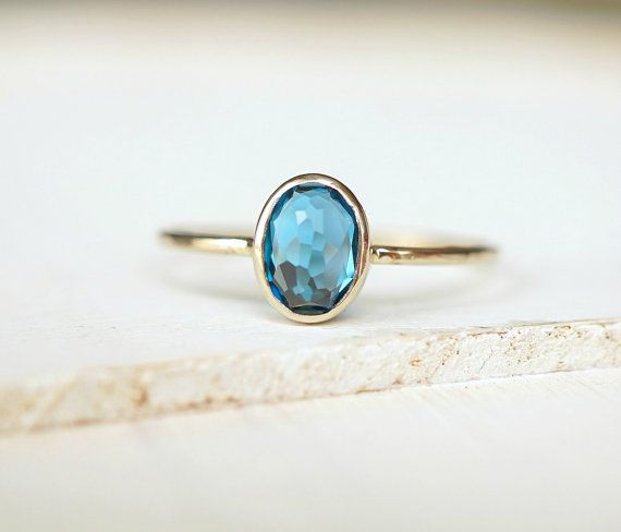 London Blue Topaz Gold Ring 14k Gold Ring Delicate by Luxuring