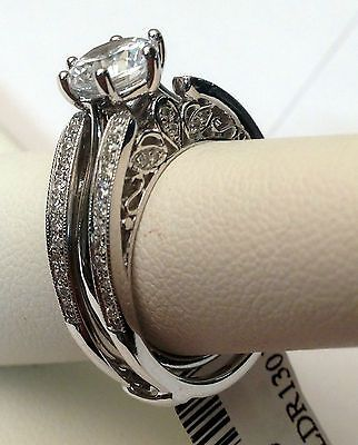 Antique Vintage Cathedral Ring Diamonds Guard Solitaire Enhancer 14k White Gold
