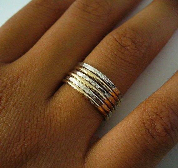 Sterling Silver Gold Filled 6 Band Hammered Polished Mix Stack Ring Set