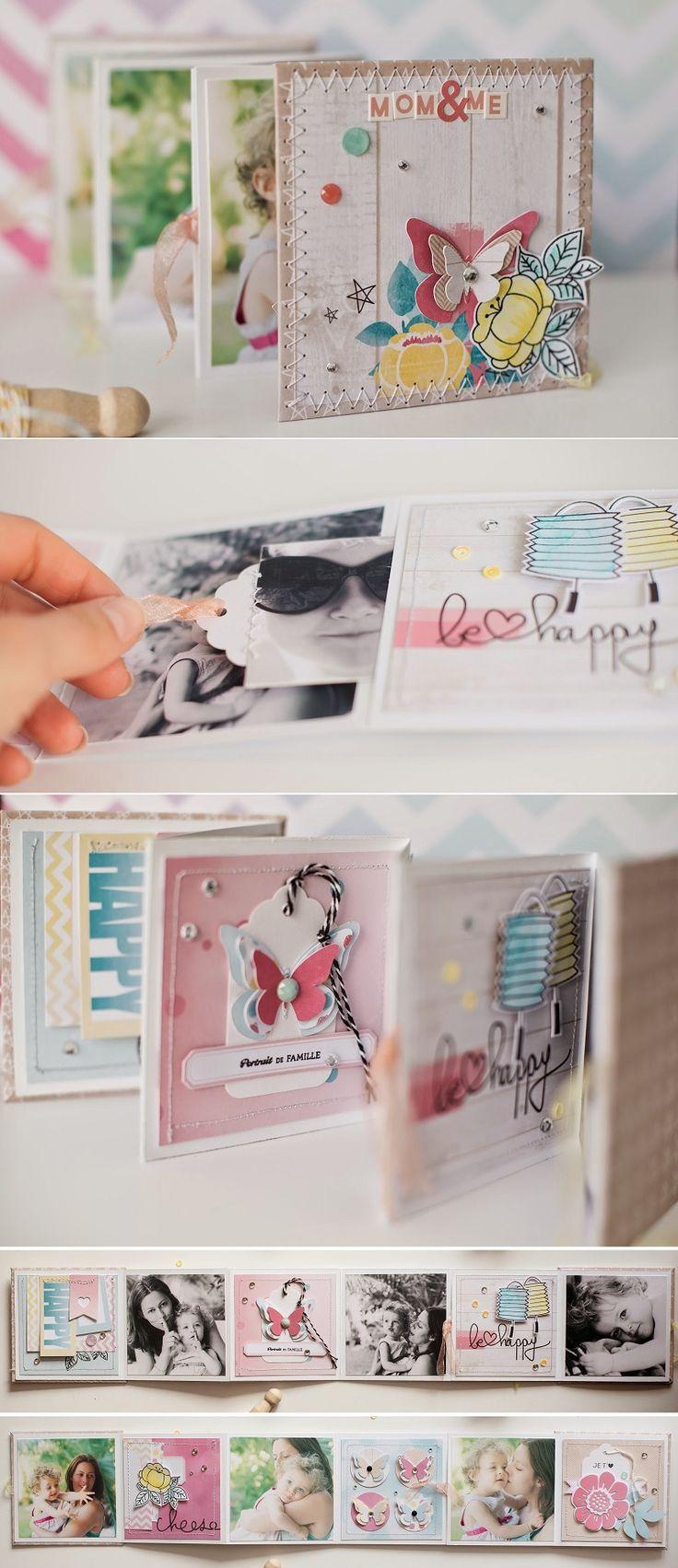 Mini album accordéon de 10 cm de côté (un cardstock blanc est coupé en 3 bandes de 10x30 cm, pliées ensuite en 3). Les extrémités de l'accordéon du centre ne sont que partiellement collées pour pouvoir y glisser des petites photos. Il est ensuite orné de pages et de photos de 9 cm de côté. Une face est en noir et blanc et l'autre en couleur.